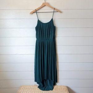 H&M Emerald Green Pleated Midi Dress Small